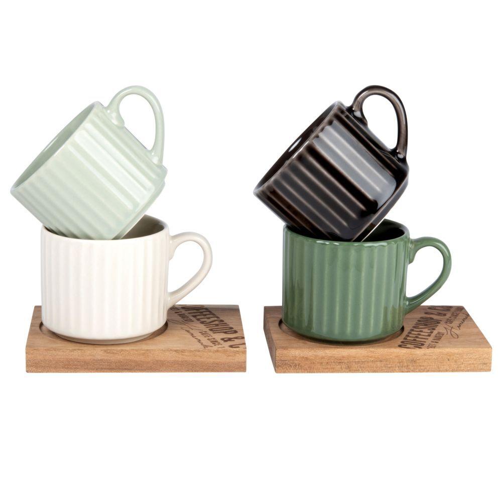 Maisons du Monde Coffret 4 tasses en faïence verte, crème et grise et soucoupes en robinia