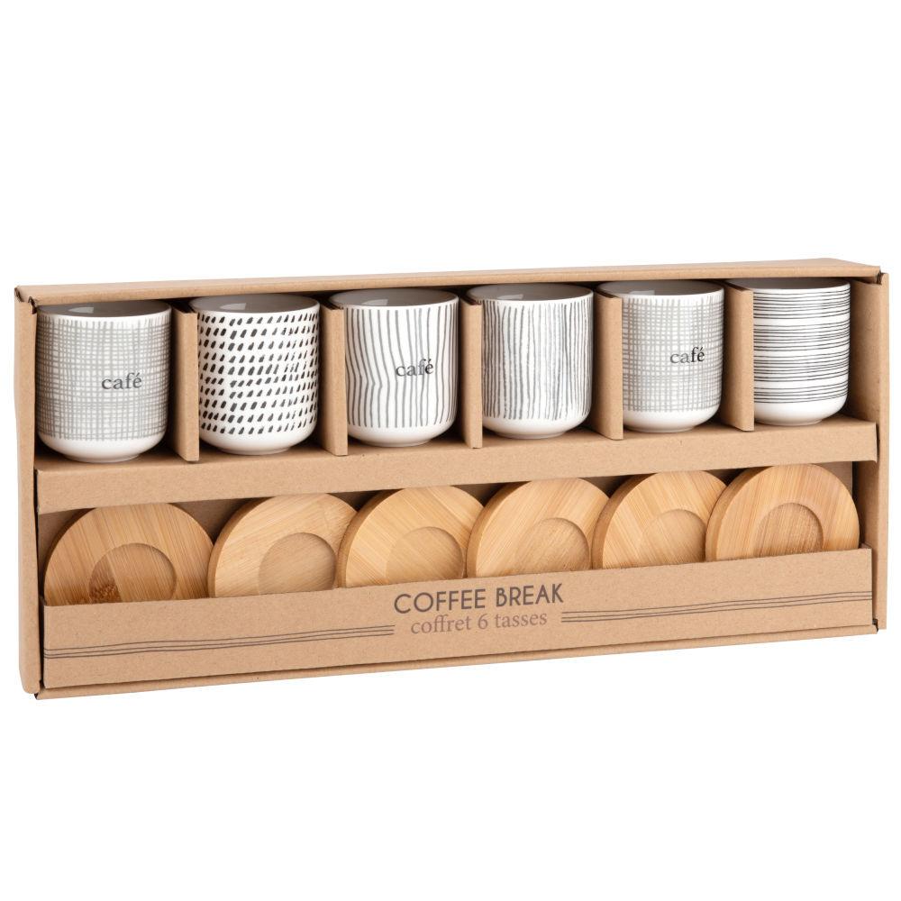 Maisons du Monde Coffret 6 tasses en porcelaine et soucoupes en bambou
