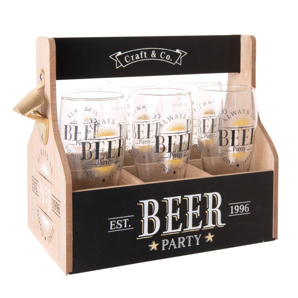 Maisons du Monde Coffret 6 verres à bière en verre et support imprimé