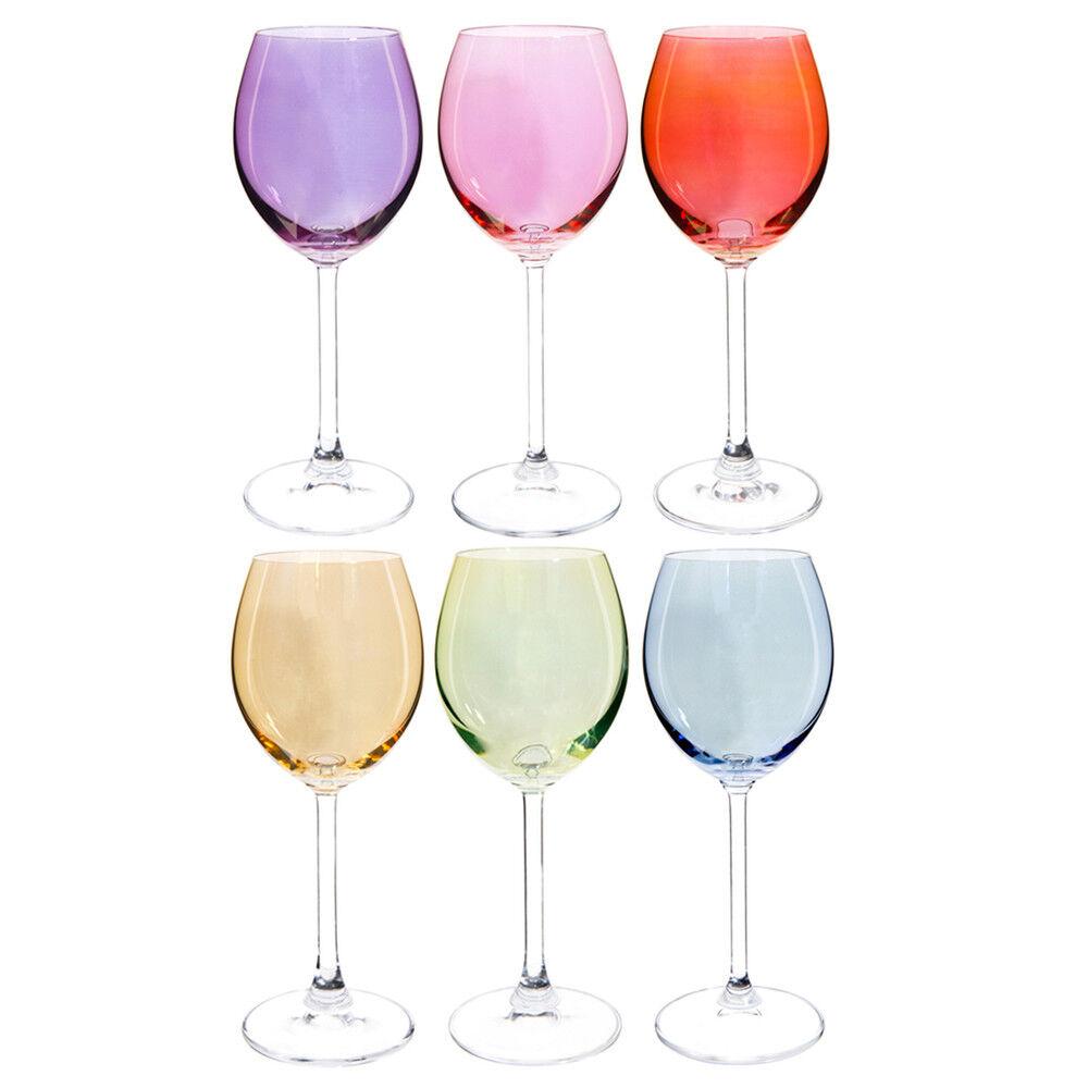 Maisons du Monde Coffret 6 verres à pied en verre multicolore COLORAMA