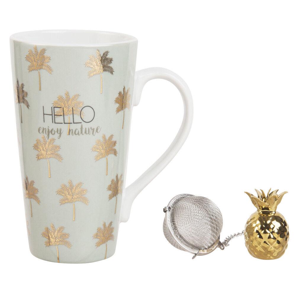 Maisons du Monde Coffret tasse avec infuseur à thé en porcelaine motifs dorés