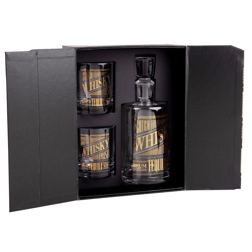 Maisons du Monde Coffret aimanté whisky carafe et 2 verres