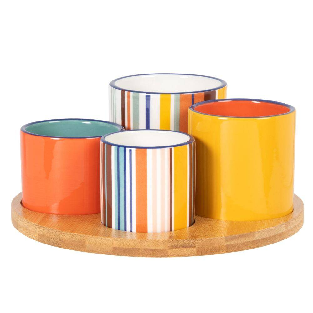 Maisons du Monde Coupelles apéritives en faïence multicolore (x4) et plateau en bambou