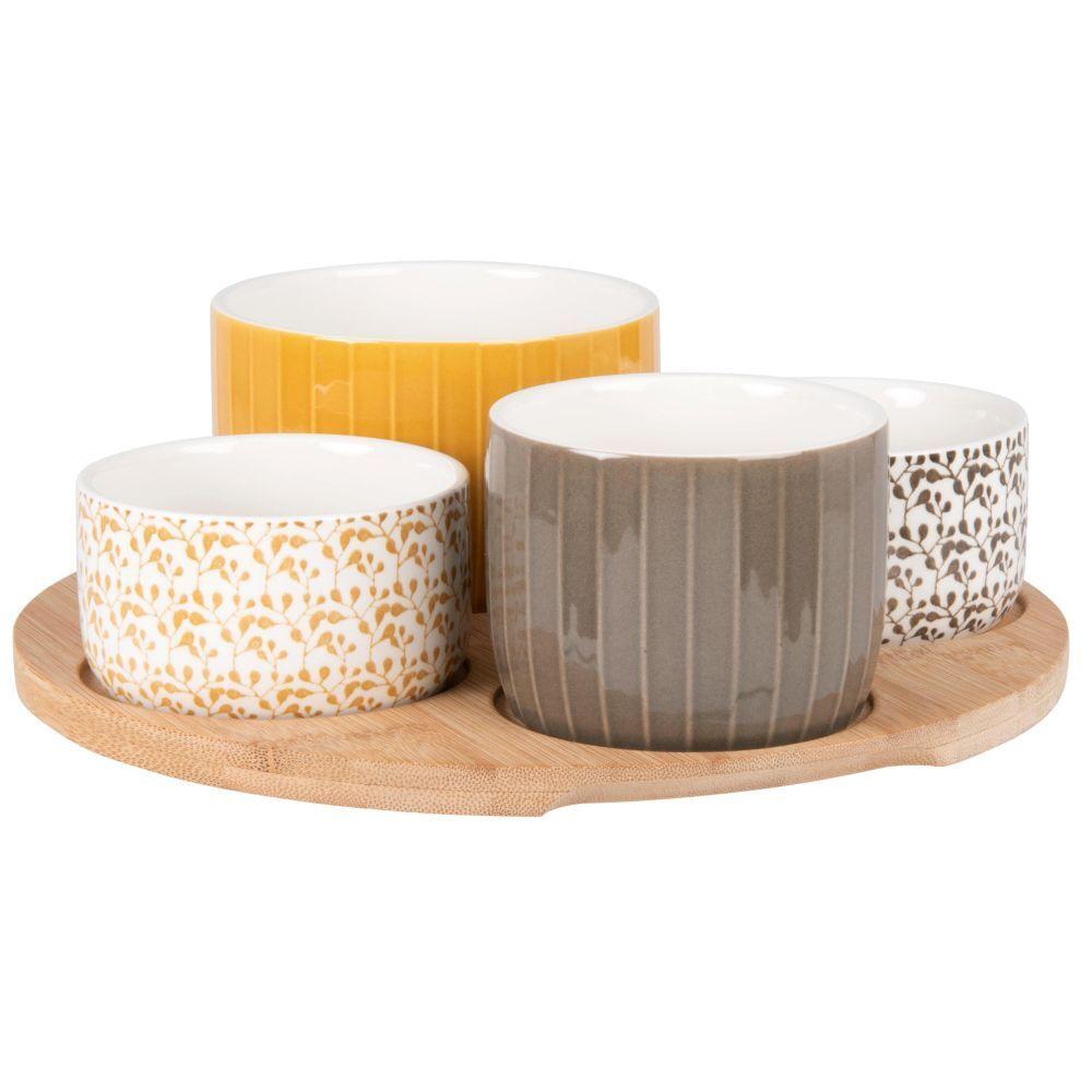 Maisons du Monde Coupelles apéritives en grès gris, blanc et jaune (x4) et plateau en bambou