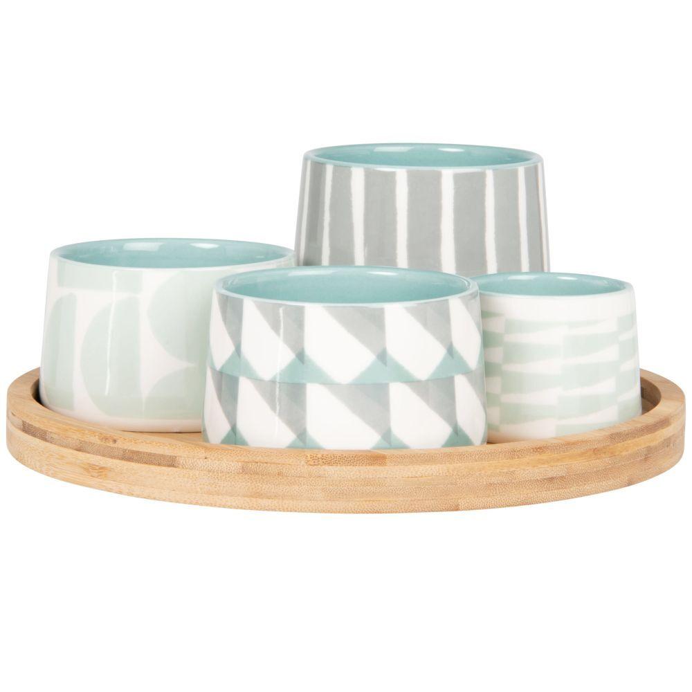 Maisons du Monde Coupelles apéritives en grès motifs graphiques bleus et gris (x4) et plateau en bambou