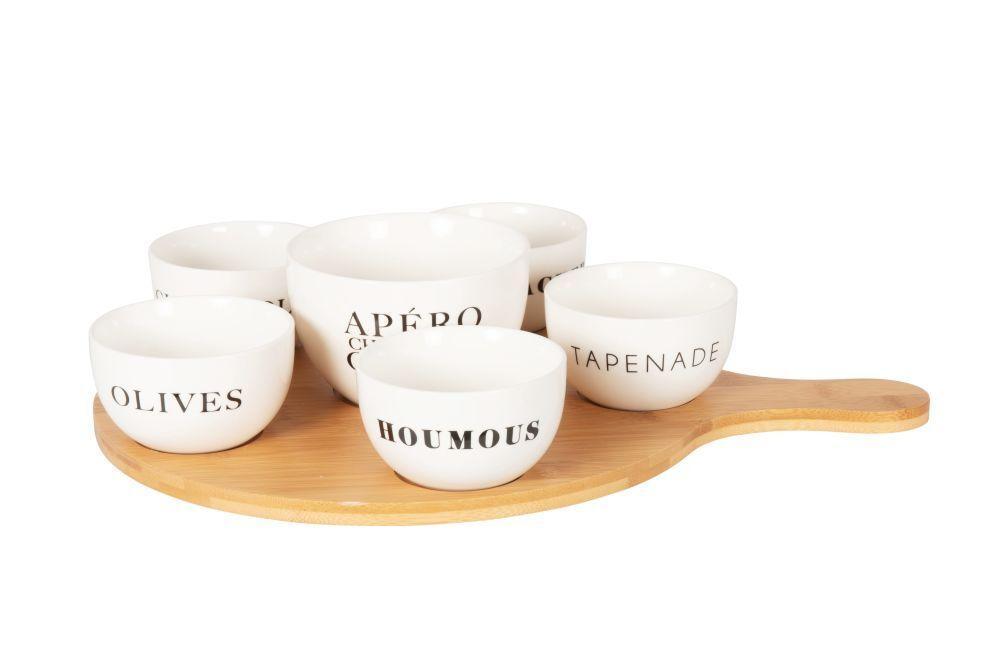 Maisons du Monde Coupelles apéritives en porcelaine blanche (x6) et plateau en bambou