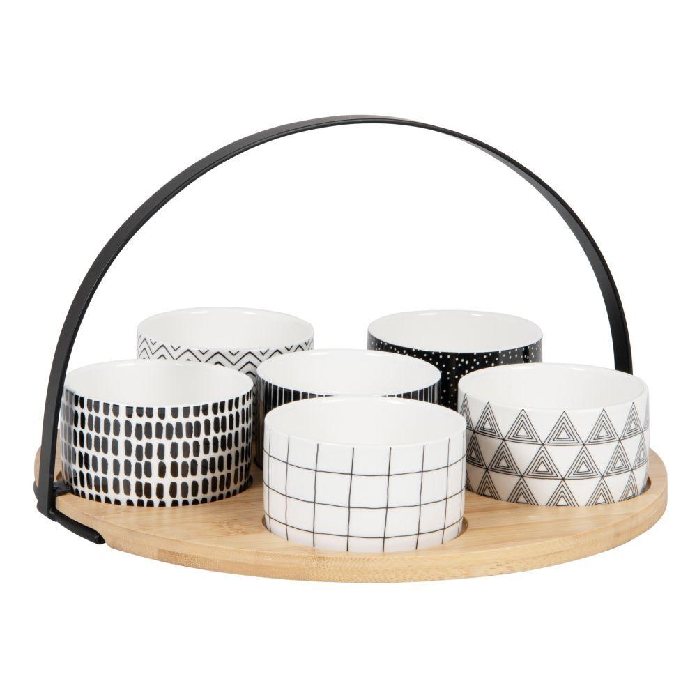 Maisons du Monde Coupelles apéritives en porcelaine noire et blanche (x6) et plateau en bambou