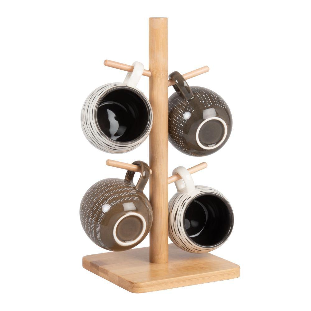 Maisons du Monde Mugs en grès beige, blanc, brun et gris (x4) et support en bambou