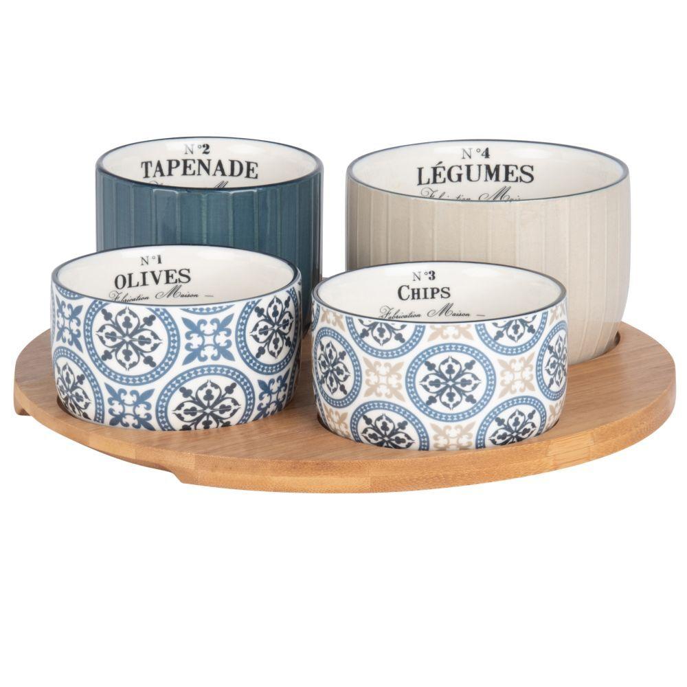 Maisons du Monde Plateau apéritif en bambou 4 bols en faïence bleue, beige et blanche à motifs