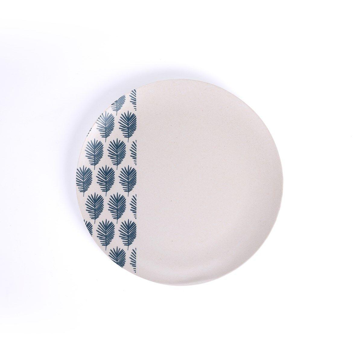 Livoo Grande assiette en fibre de bambou blanc - Lot de 4