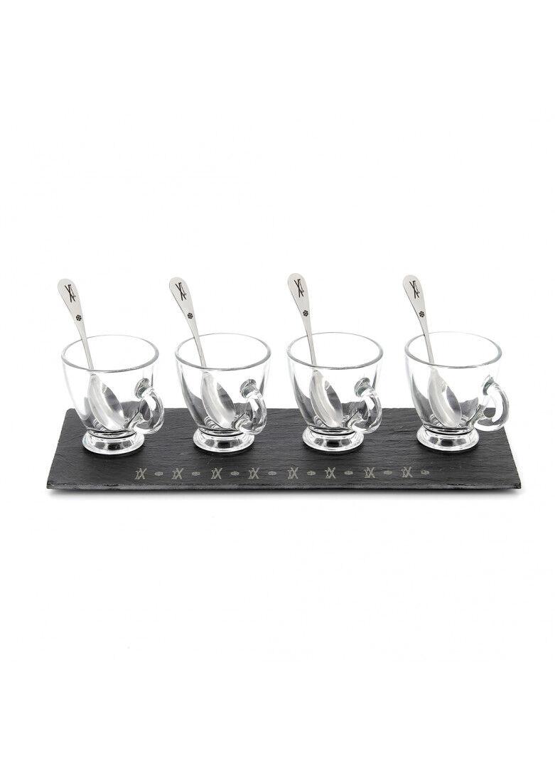 Créations Léonie's France Ardoise tasses à expresso cuillères gravées 30x12cm