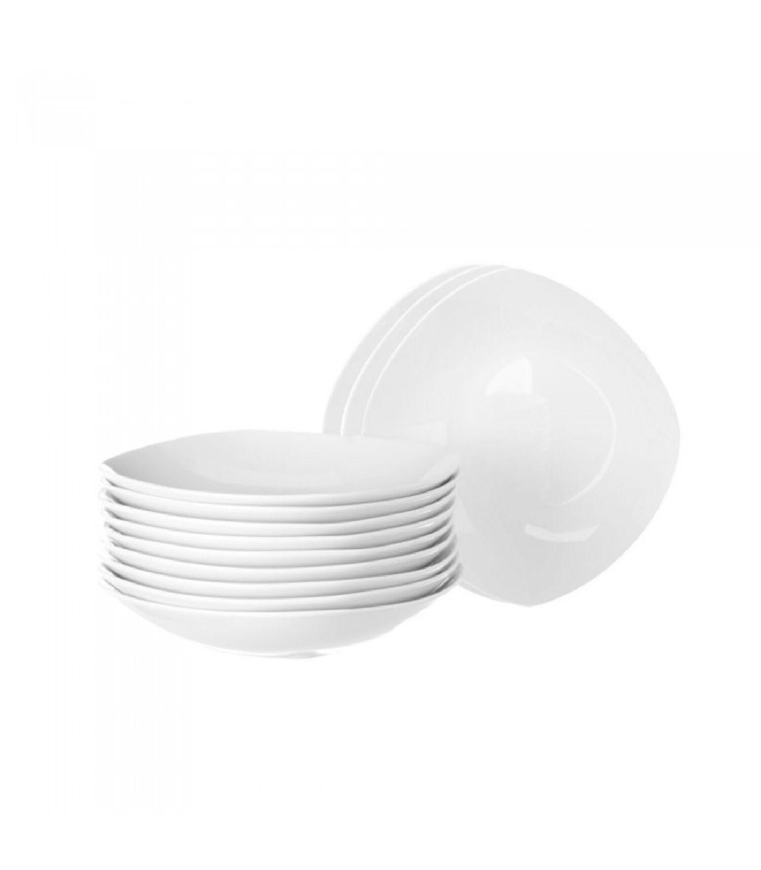 Wadiga Assiette  soupe carrée en porcelaine blanche - Lot de 12