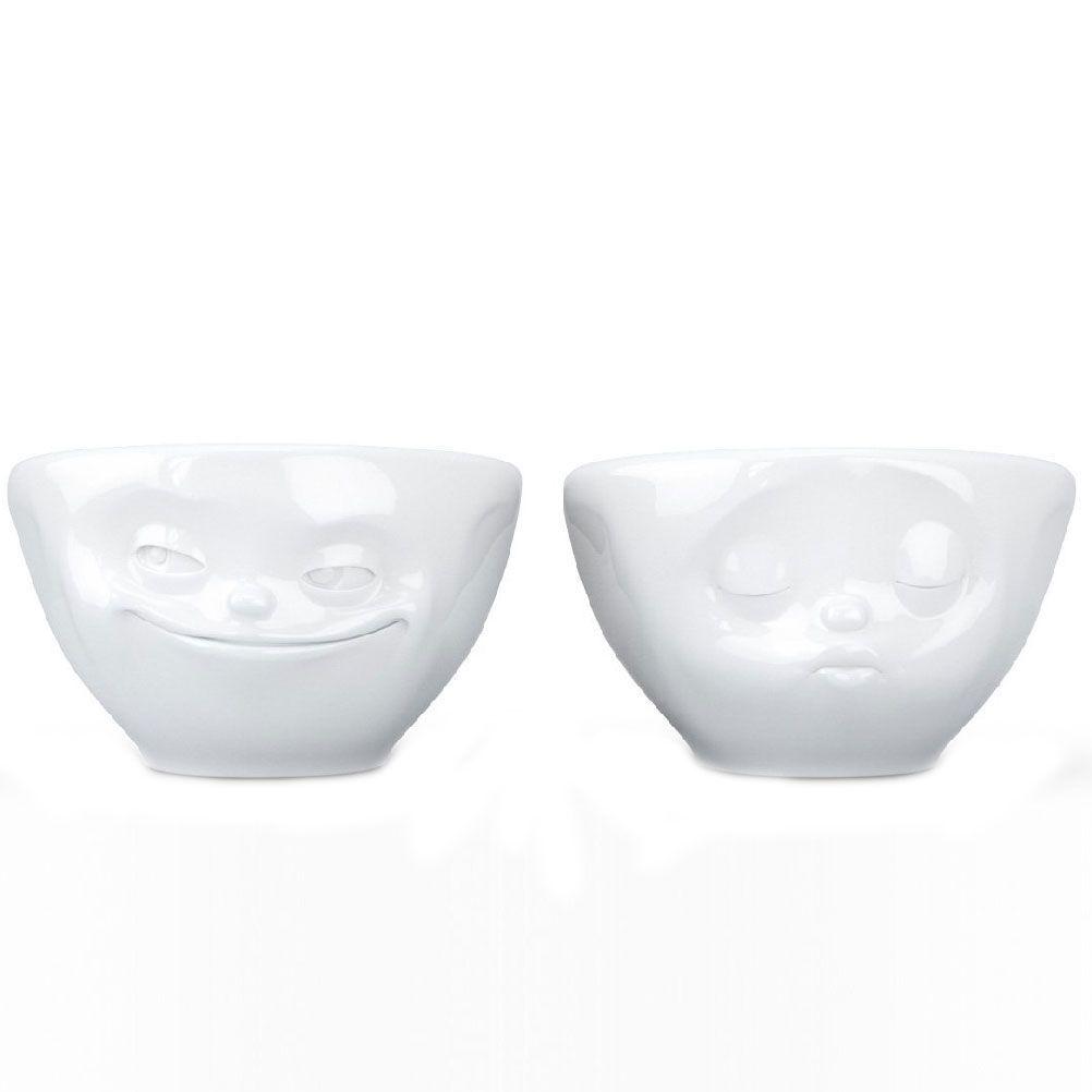Tassen Set de 2 mini bols bisou et malicieux en porcelaine 100ml