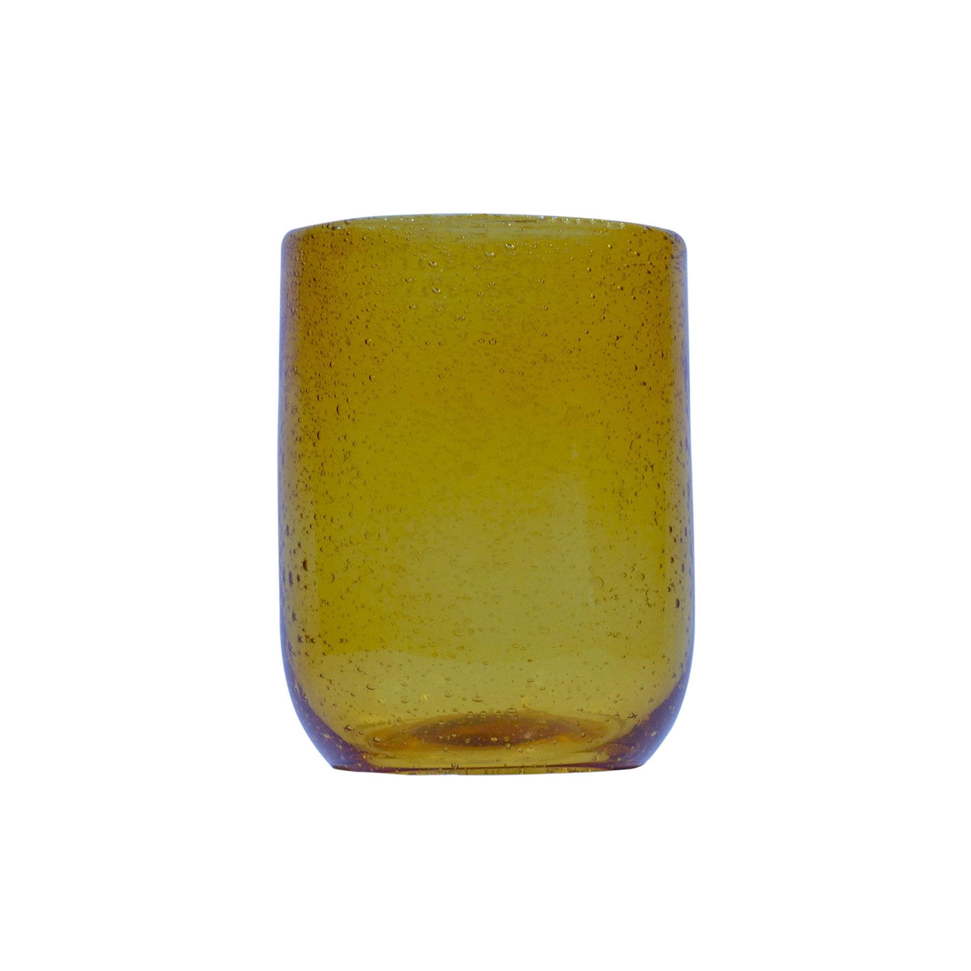 Sibo Homeconcept Gobelet en verre bullé ambre jaune 28 cl - Lot de 6