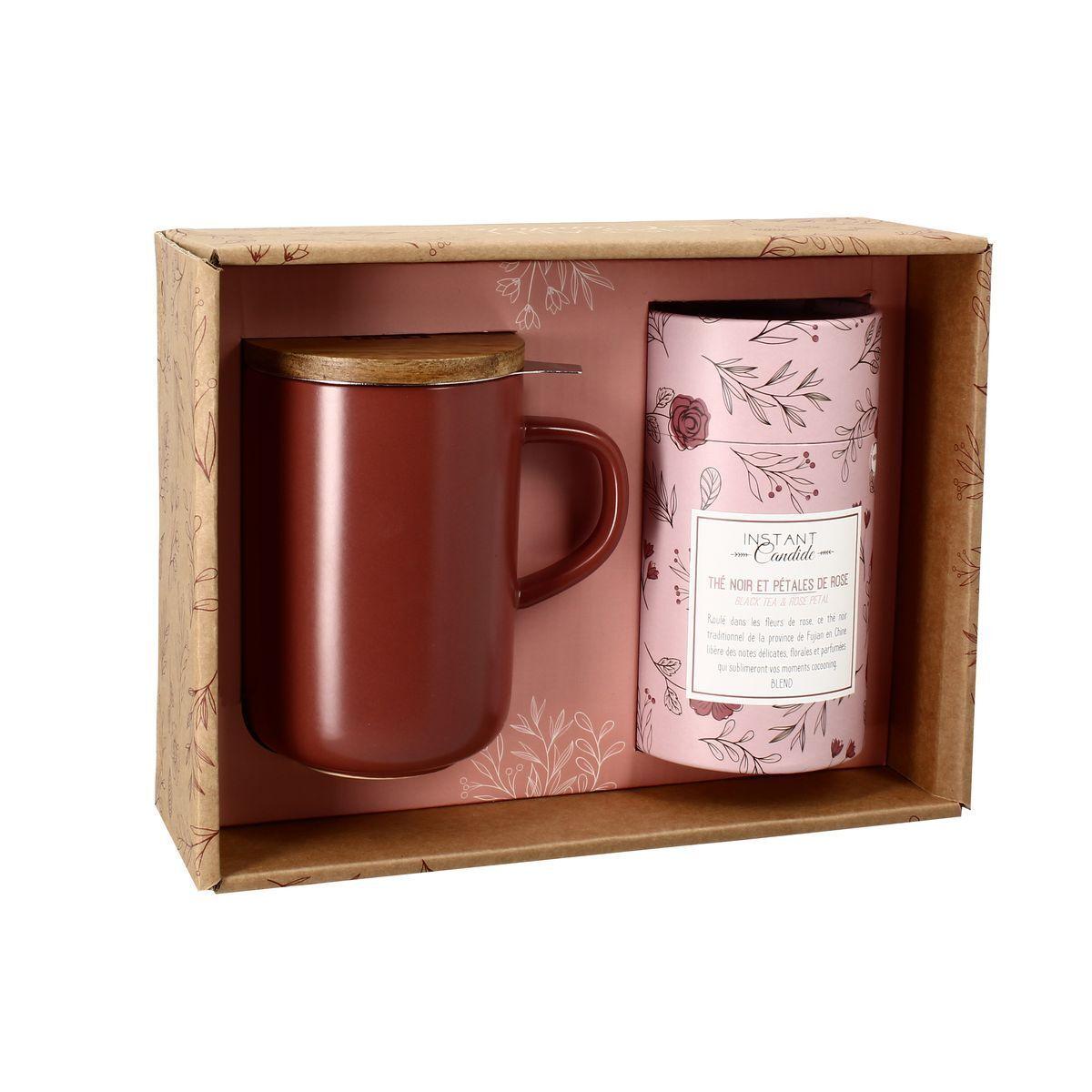 OGO Living Coffret tisanire thé noir aux pétales de rose en grs Rouge 475 ml