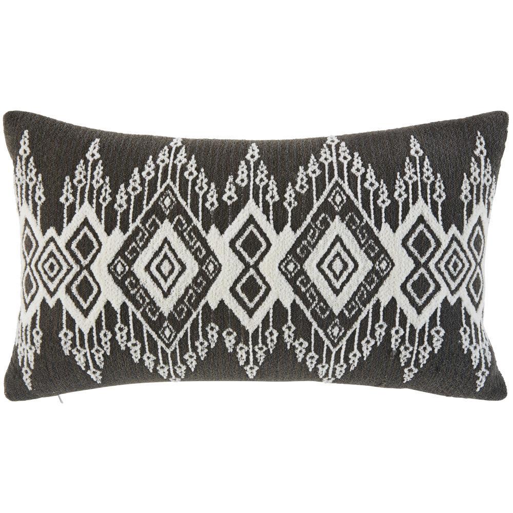 Maisons du Monde Coussin en coton tissé noir motifs graphiques 30x50