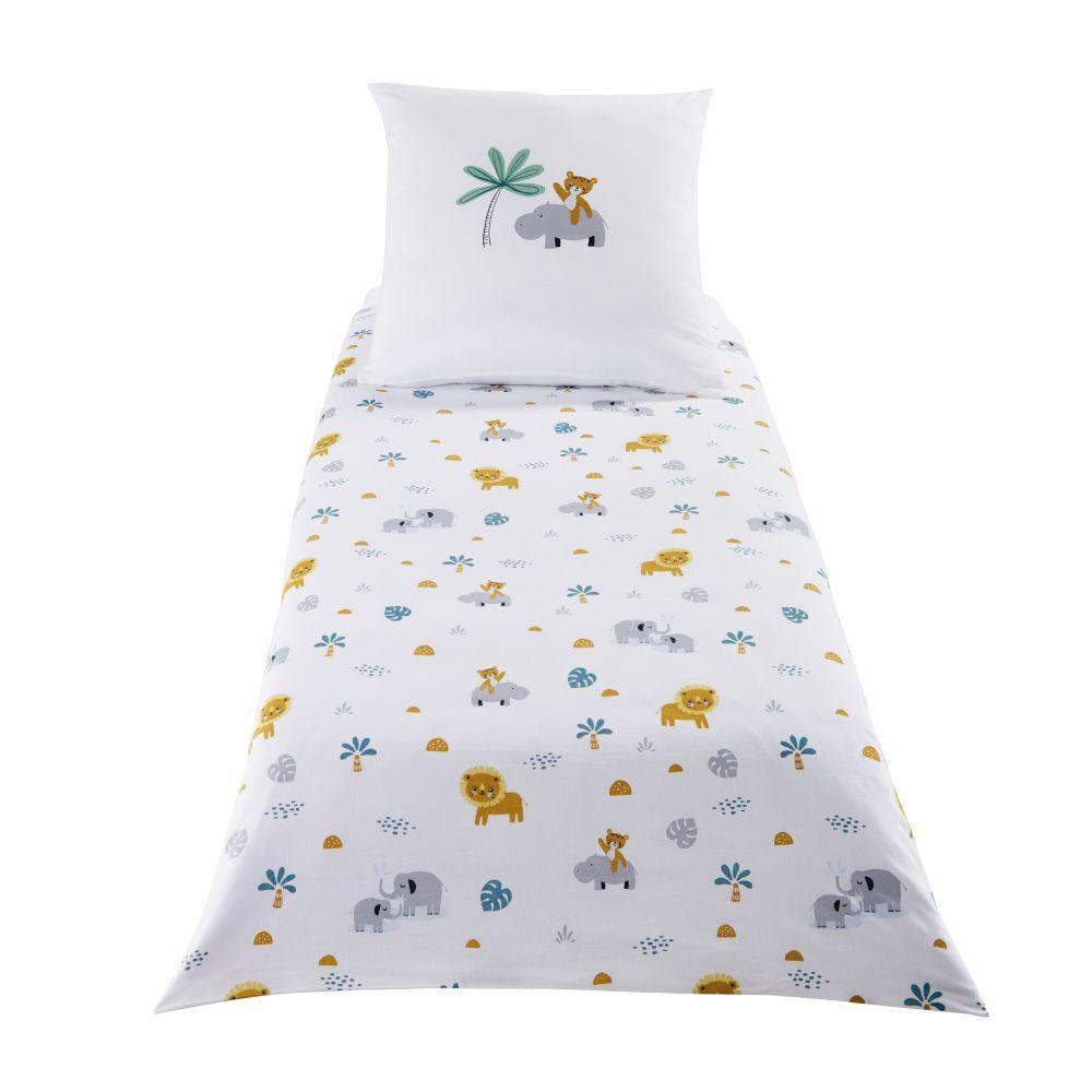 Maisons du Monde Parure de lit enfant en coton blanc motifs animaux 140x150