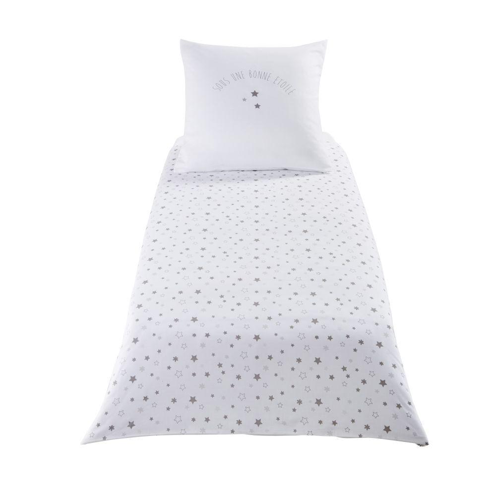 Maisons du Monde Parure de lit enfant en coton blanc motifs étoiles 140x150