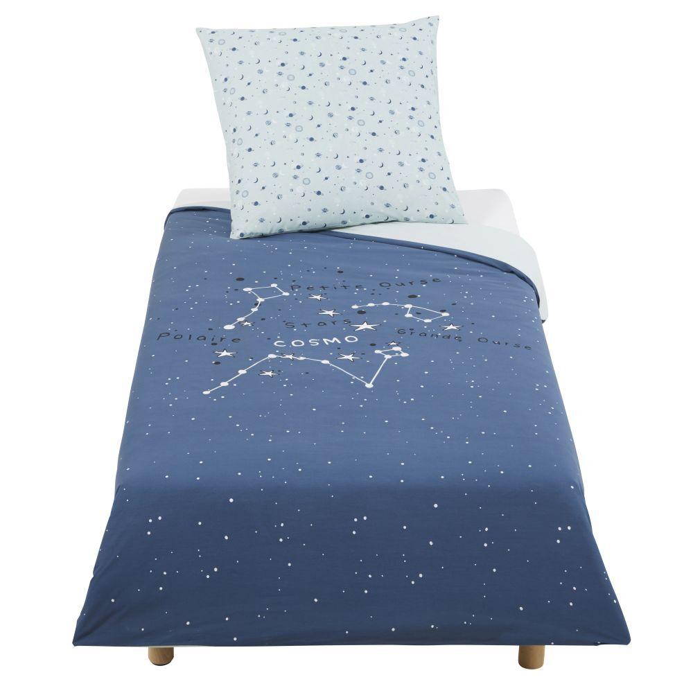 Maisons du Monde Parure de lit enfant en coton bleu marine imprimé 140x200