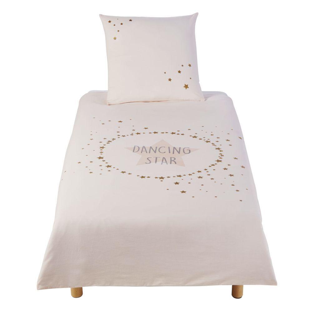 Maisons du Monde Parure de lit enfant en coton imprimé écru, rose et doré 140x200
