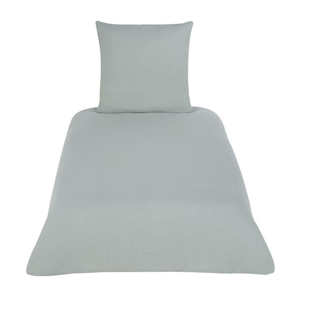 Maisons du Monde Parure de lit enfant en coton bio vert d'eau 140x200