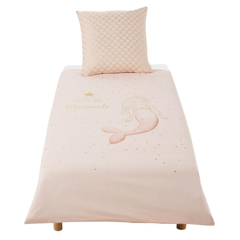 Maisons du Monde Parure de lit enfant en coton blanc, rose et doré imprimé 140x200