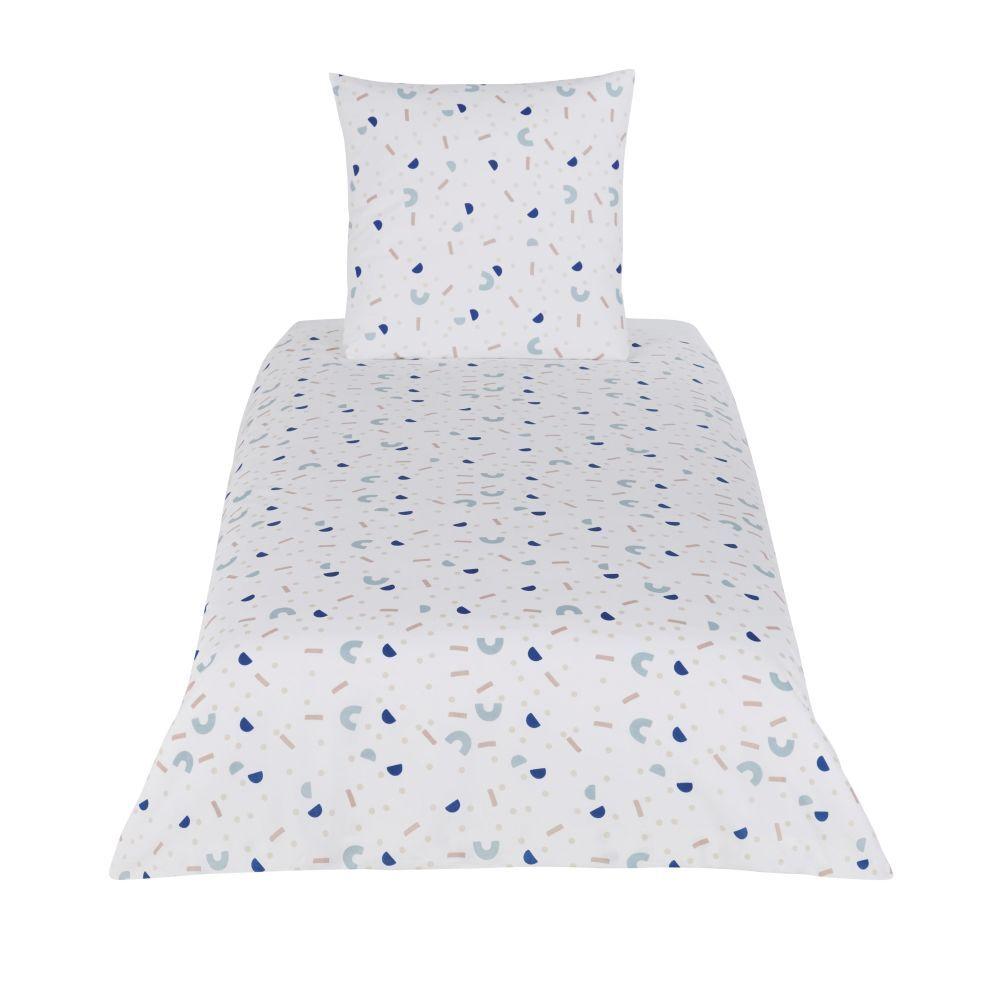 Maisons du Monde Parure de lit enfant en coton bleu, blanc et beige imprimé 140x200