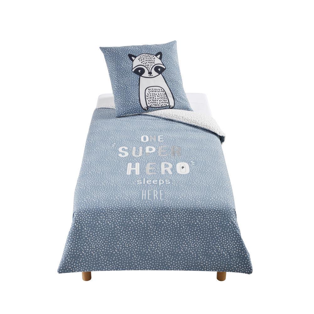 Maisons du Monde Parure de lit enfant en coton bleu, blanc gris anthracite imprimé 140x200