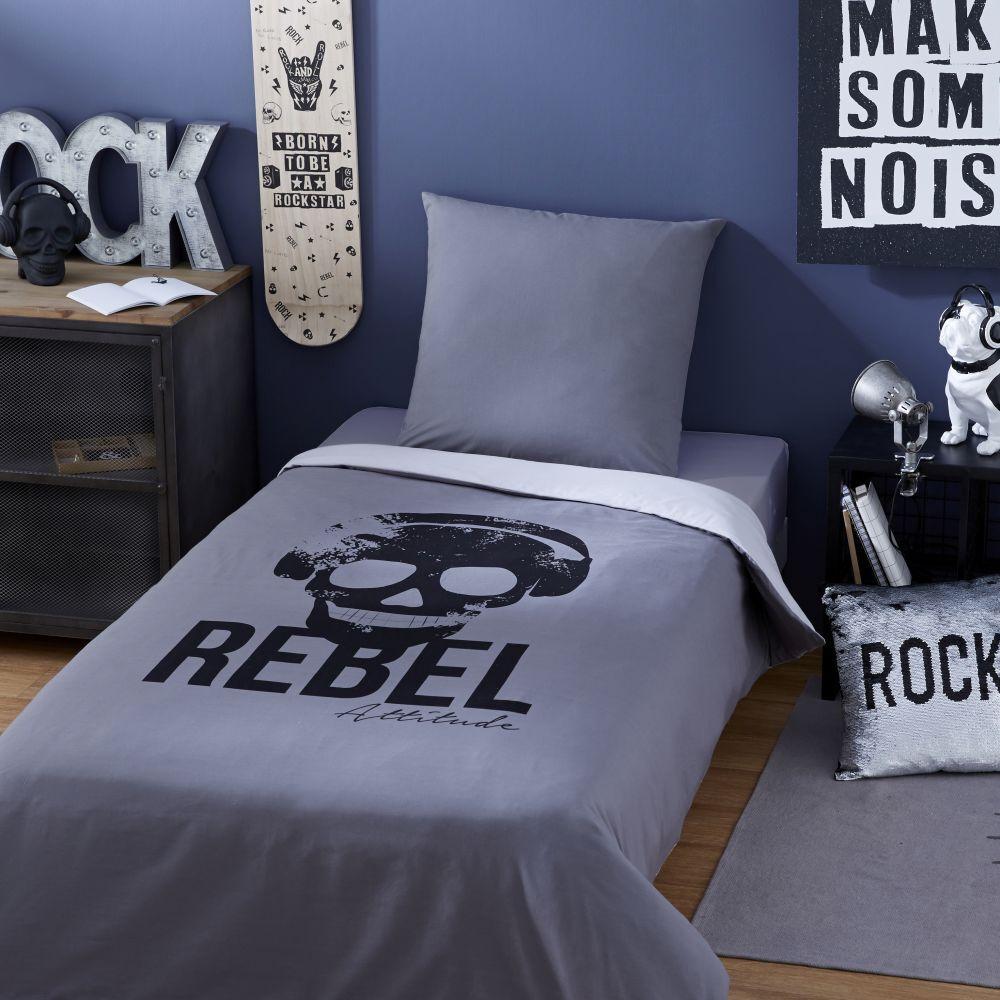 Maisons du Monde Parure de lit enfant en coton gris anthracite imprimé noir 140x200