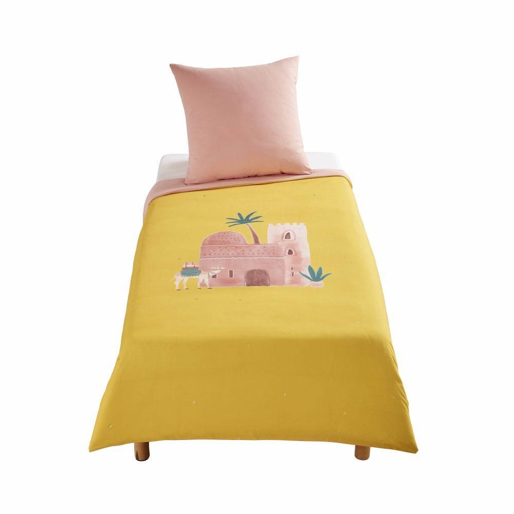 Maisons du Monde Parure de lit enfant en coton rose et jaune moutarde imprimé 140x200