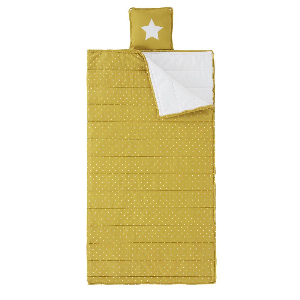 Maisons du Monde Sac de couchage enfant en coton jaune moutarde motifs  pois écrus