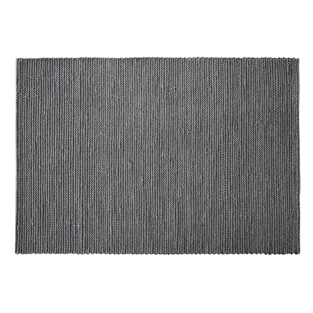 Maisons du Monde Tapis en laine tressée gris fait main 140x200