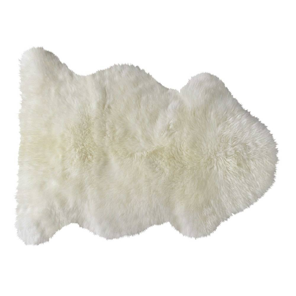 Maisons du Monde Tapis en peau de mouton ivoire 55 x 90 cm