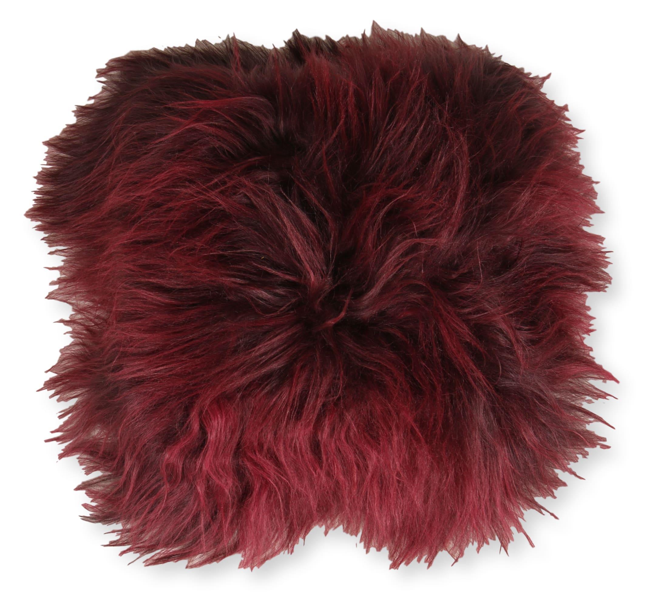 Esbeco Coussin en peau de mouton islandais bourgogne rouge 35x35