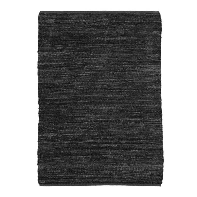 The Deco Factory Tapis en cuir tressé noir 160x230