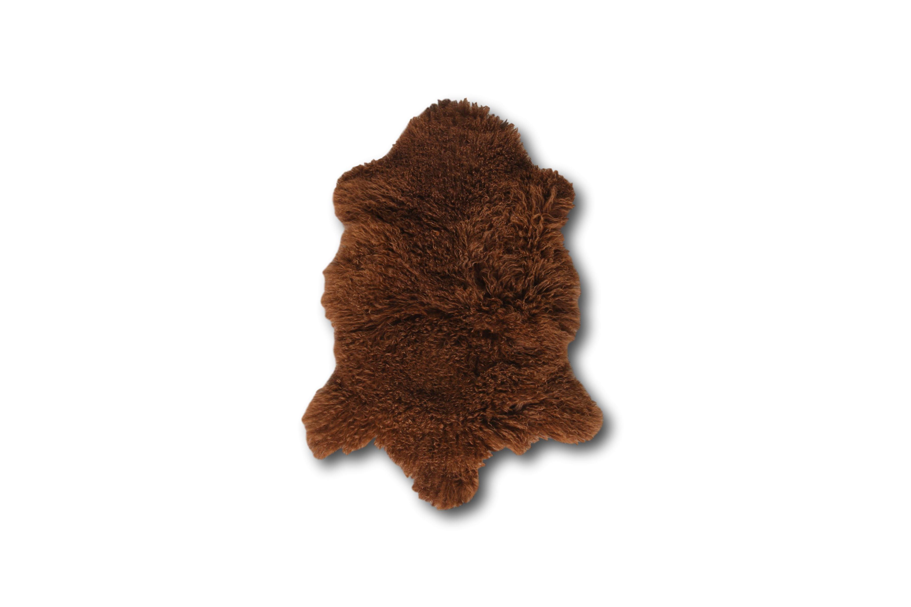Esbeco Tapis en peau de mouton tibétain curl chocolat 80x50