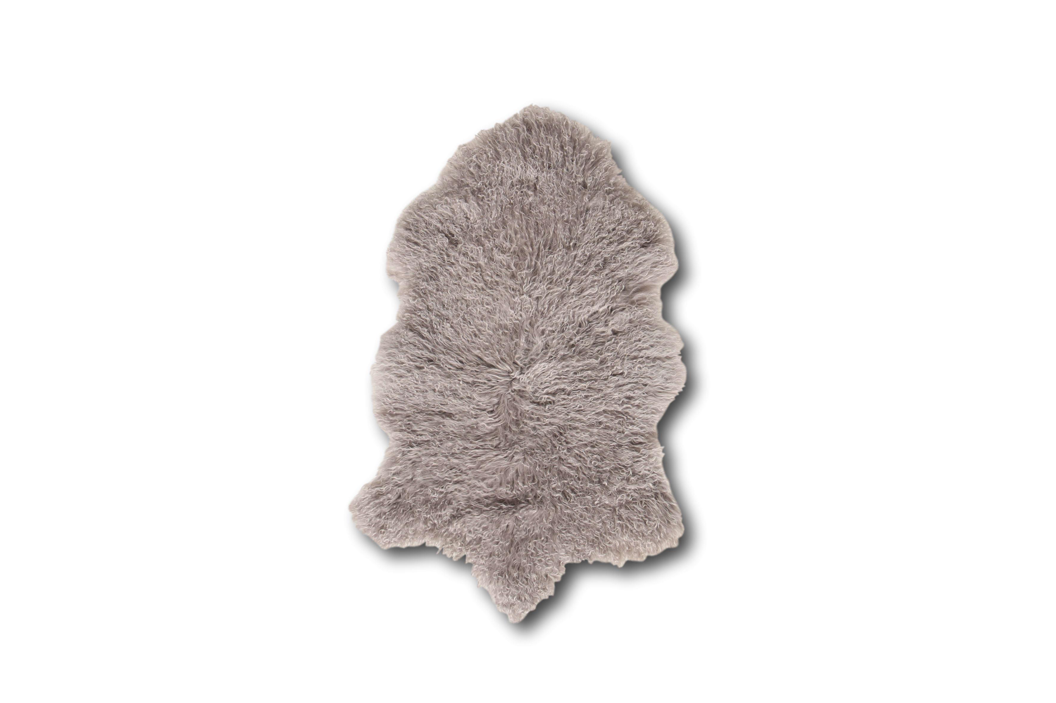 Esbeco Tapis en peau de mouton tibétain curl gris clair 80x50