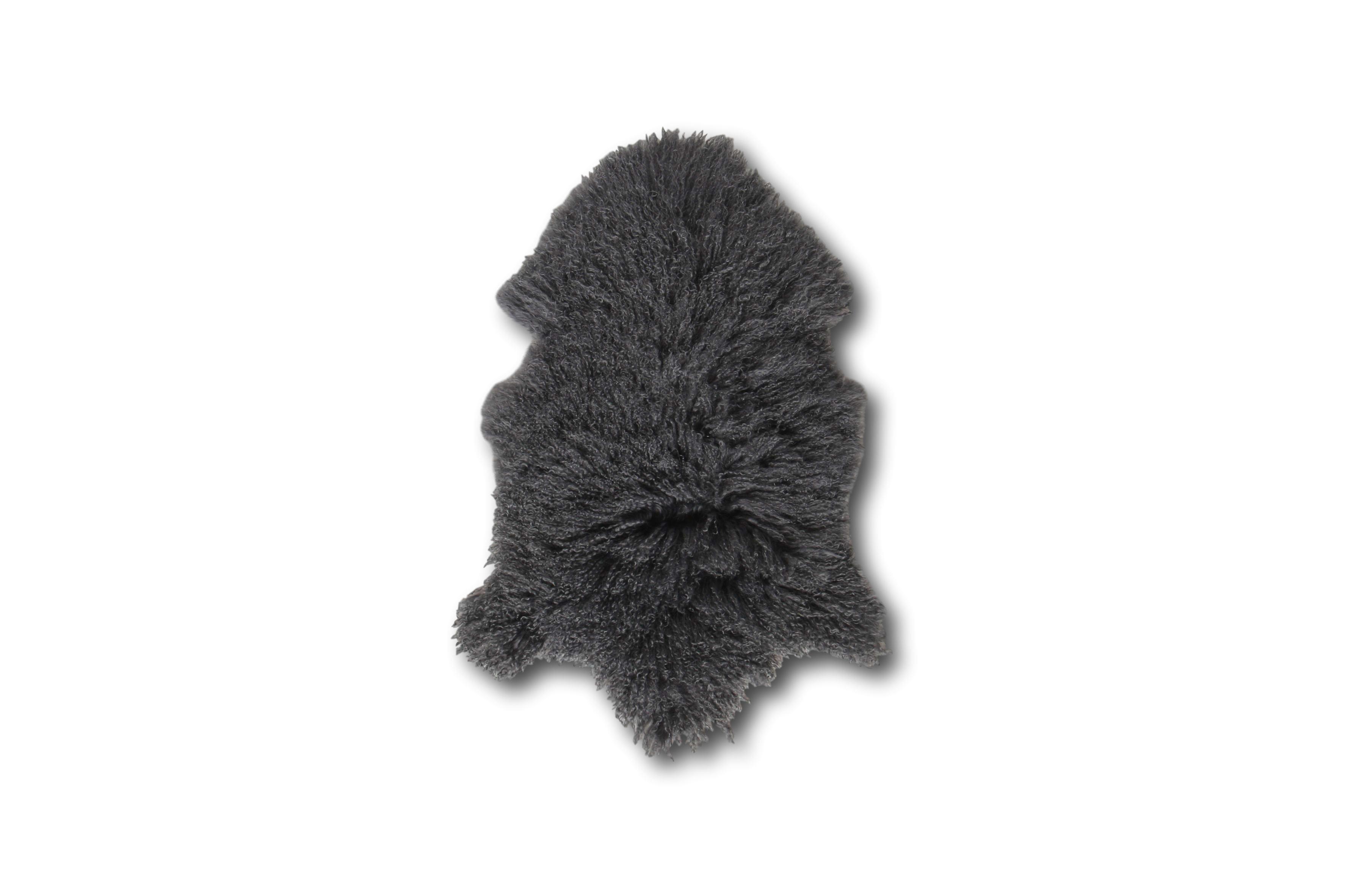 Esbeco Tapis en peau de mouton tibétain curl gris foncé 80x50