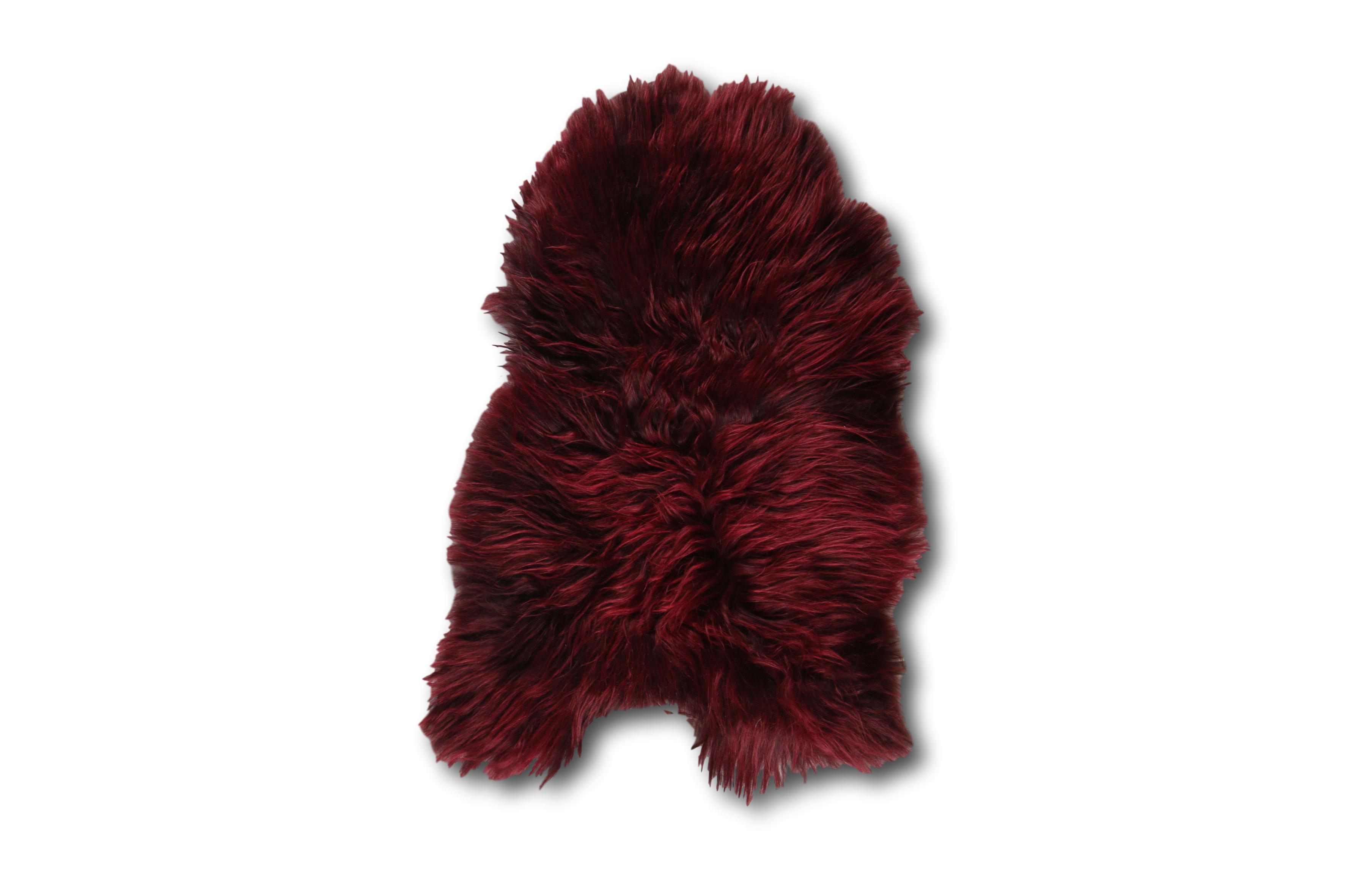 Esbeco Tapis en peau de mouton islandais bourgogne rouge 90x60