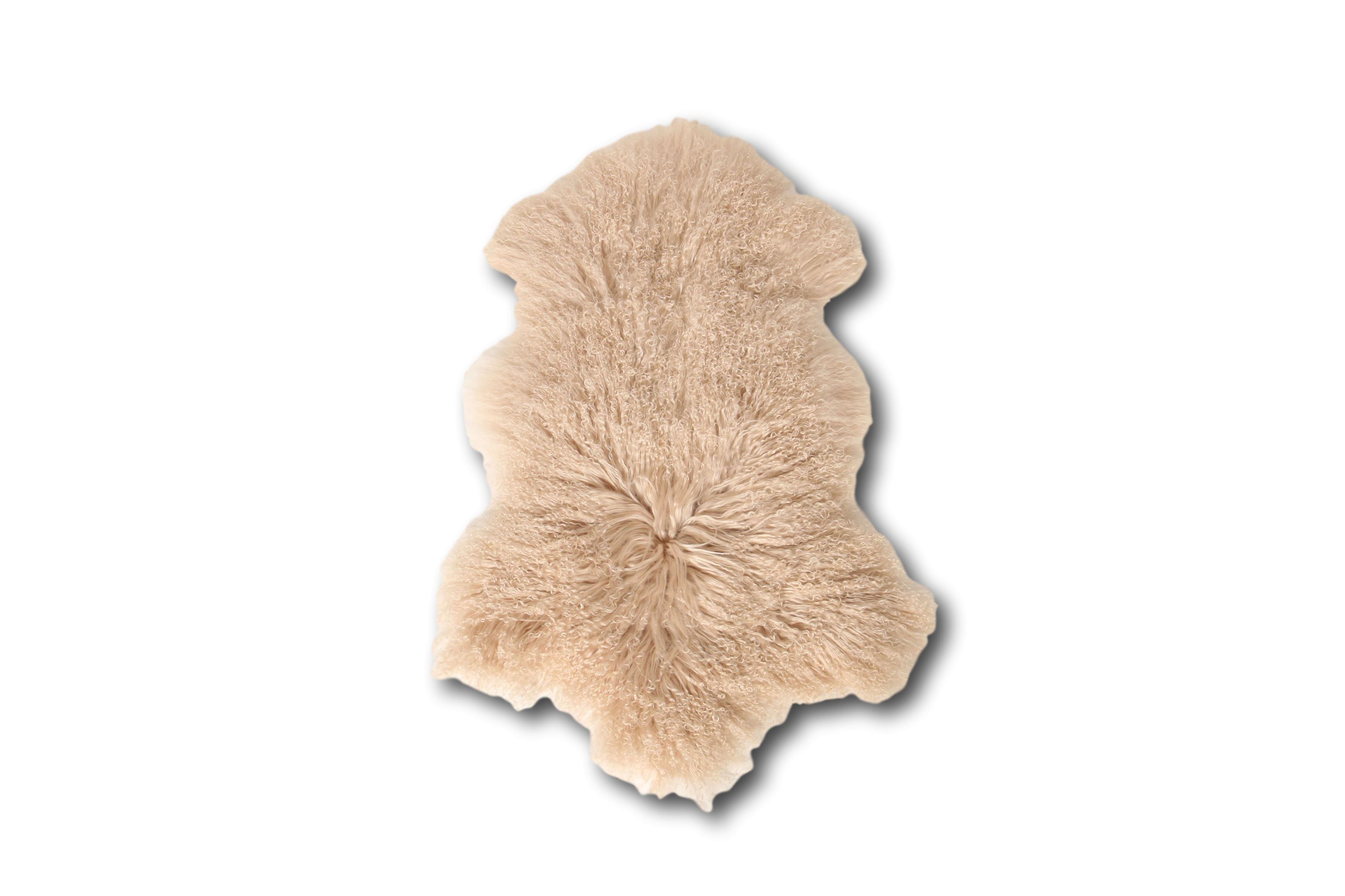 Esbeco Tapis en peau de mouton tibétain curl beige 80x50