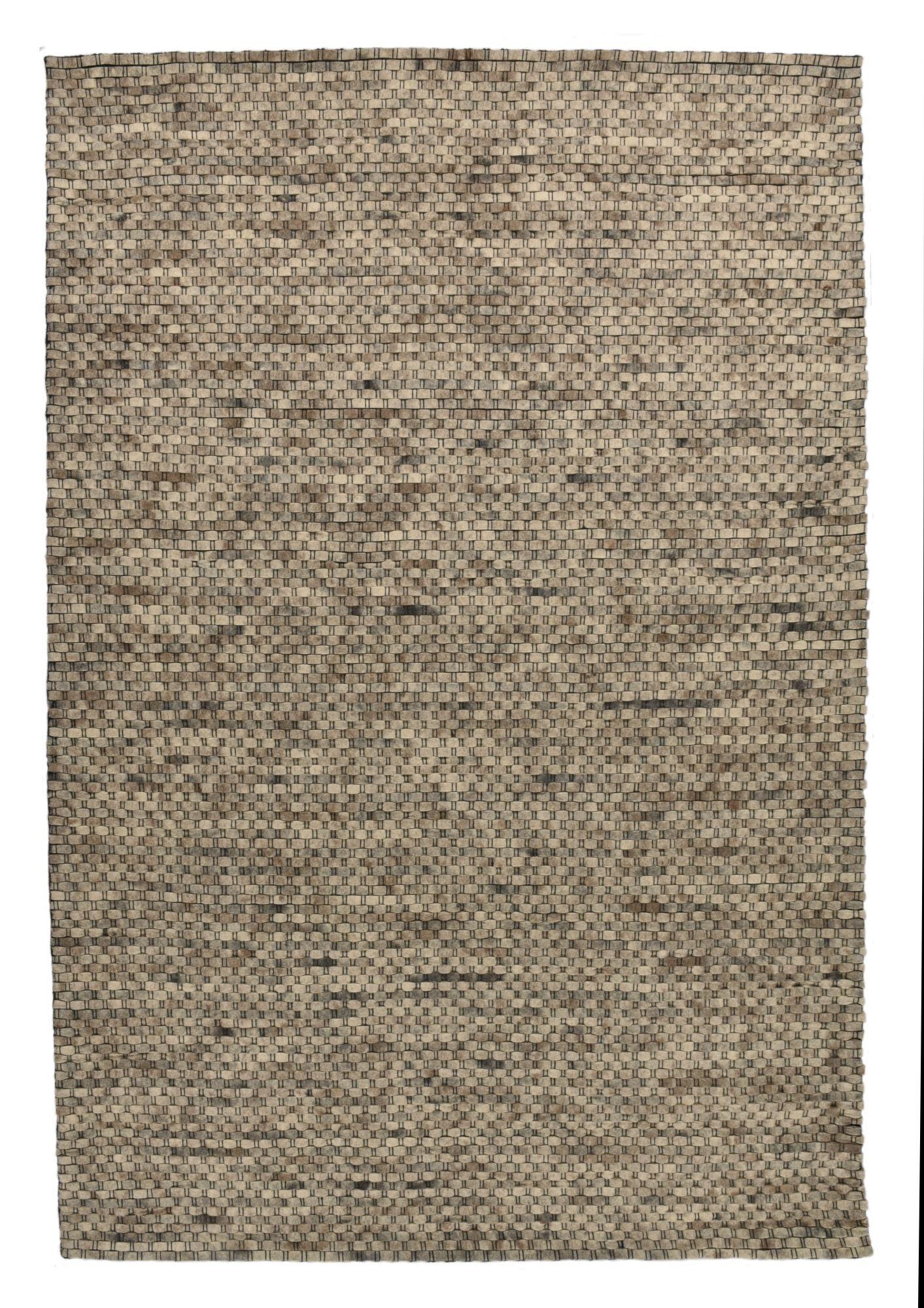 THEKO Tapis feutré en laine naturelle fait main nature 140x200