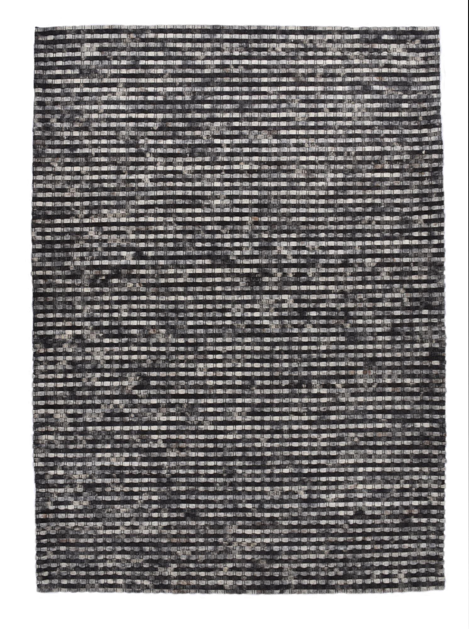 THEKO Tapis feutré en laine naturelle fait main anthracite 170x240