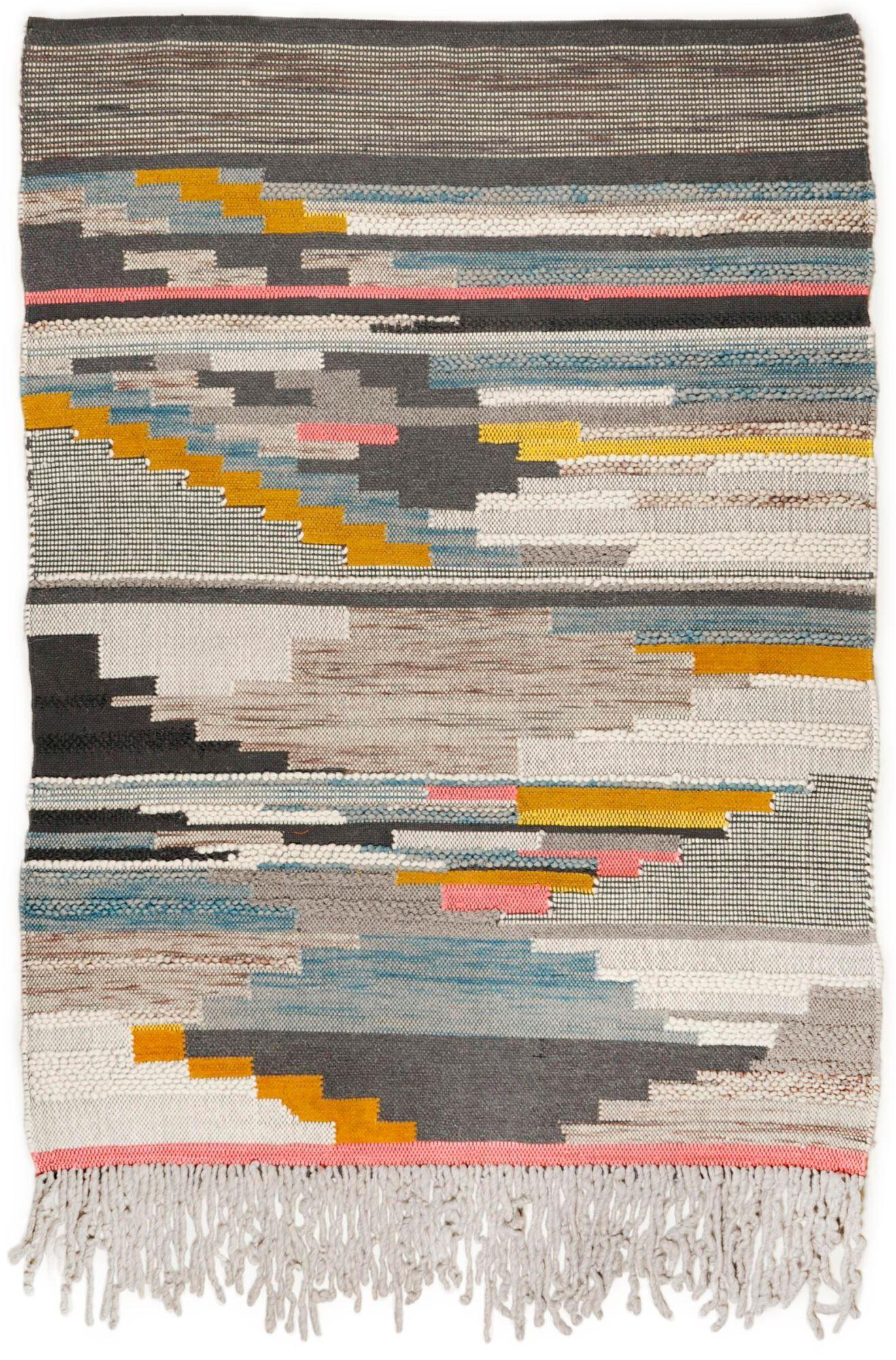 THEKO Tapis structure en laine fait  la main multi 70x140