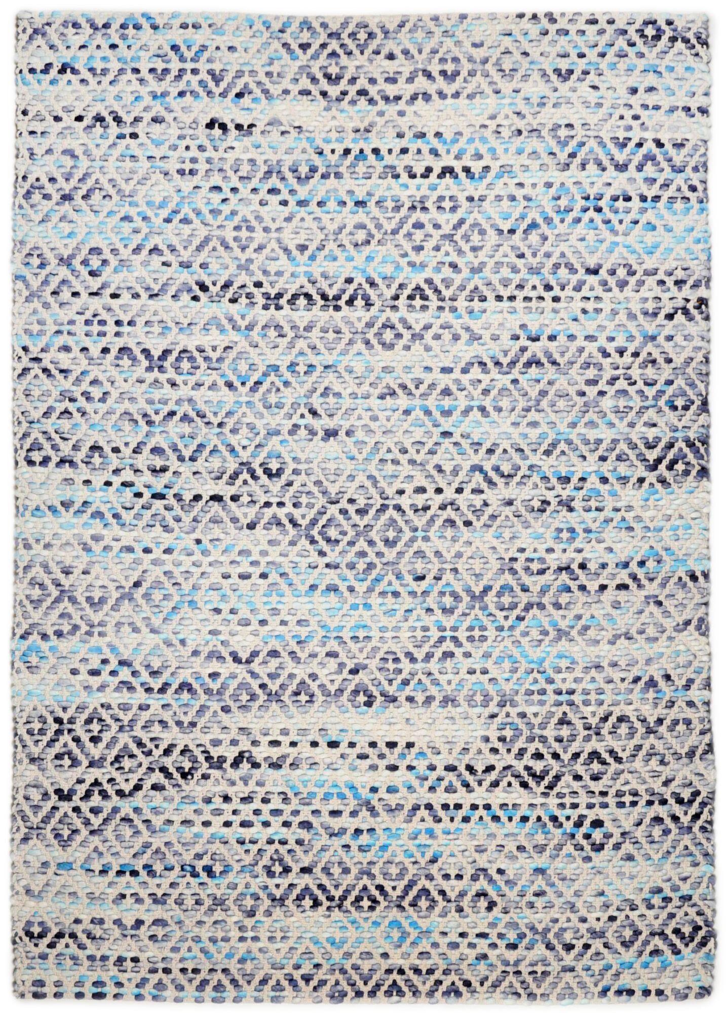 Tom Tailor Tapis moderne en laine fait  la main bleu 140x200