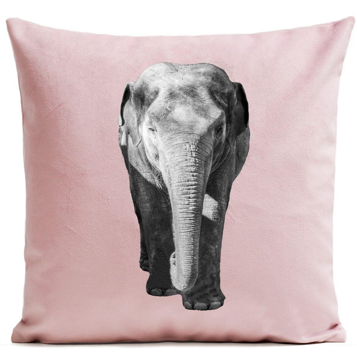 Artpilo Coussin velours carré imprimé animaux rose pastel 60x60