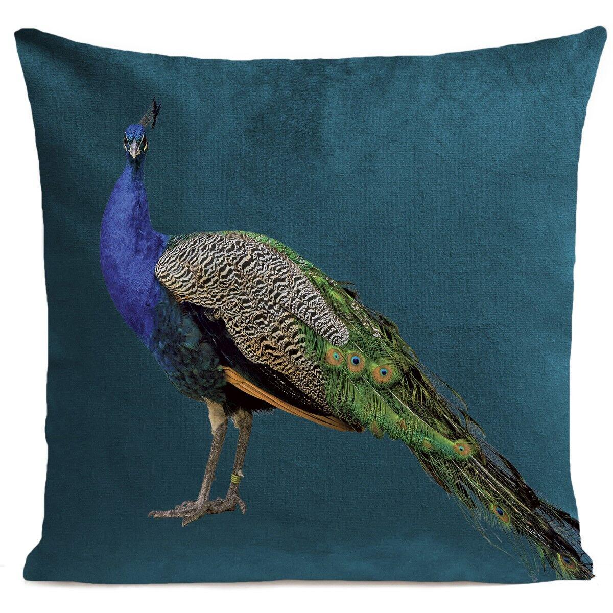 Artpilo Coussin velours carré imprimé animaux bleu canard 60x60