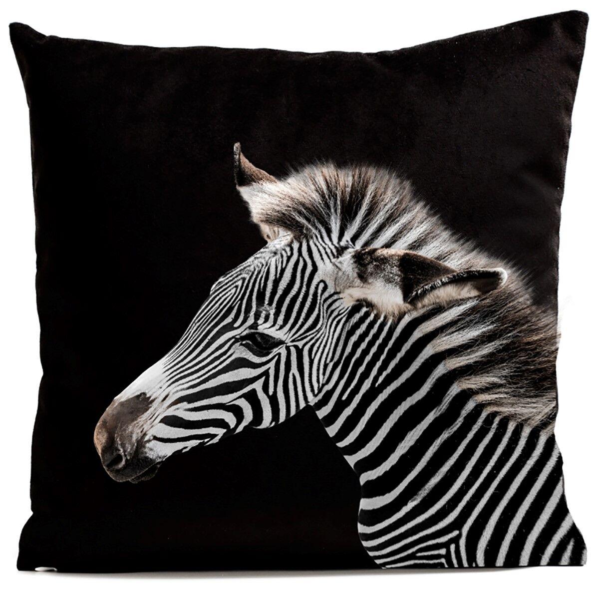 Artpilo Coussin velours carré imprimé animaux noir 60x60