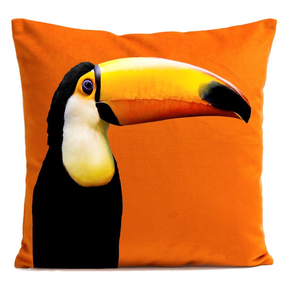 Artpilo Coussin velours carré imprimé animaux orange vif 40x40