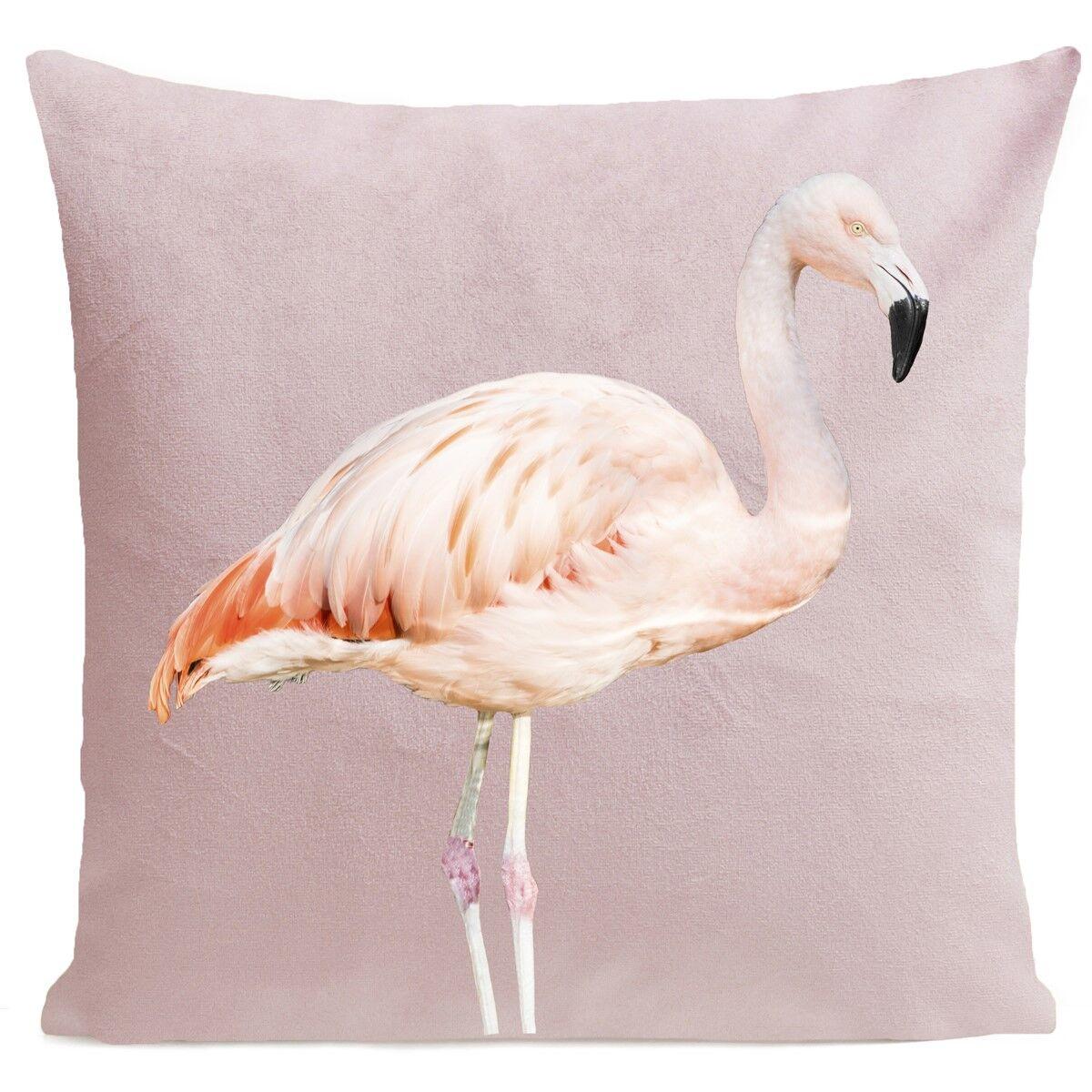 Artpilo Coussin velours carré imprimé animaux rose pastel 40x40