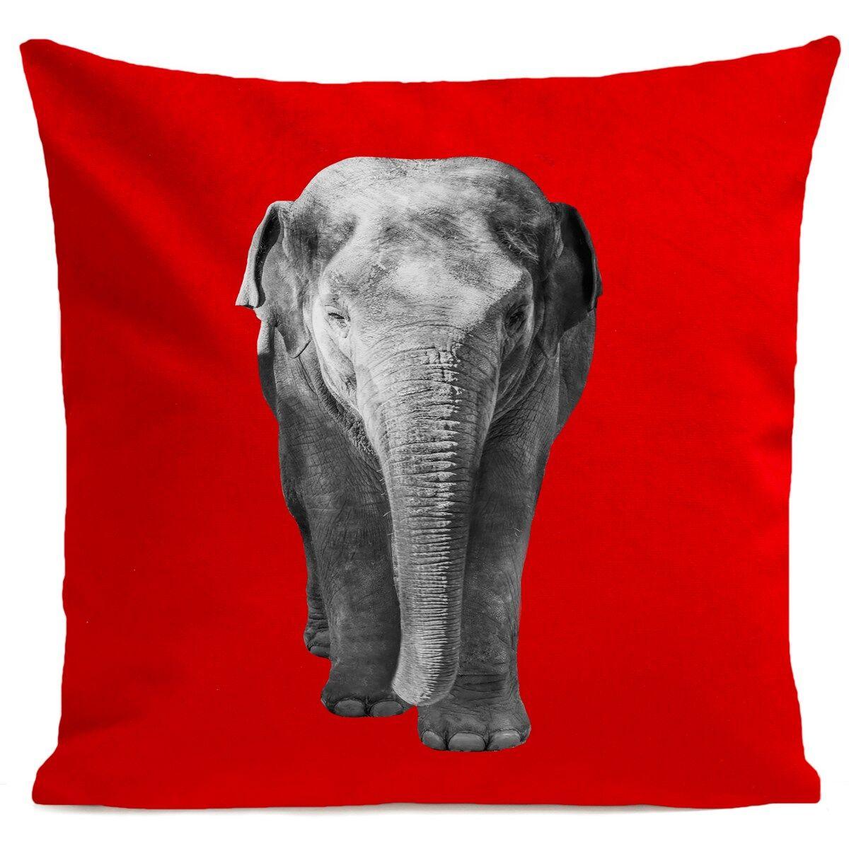 Artpilo Coussin velours carré imprimé animaux rouge 40x40